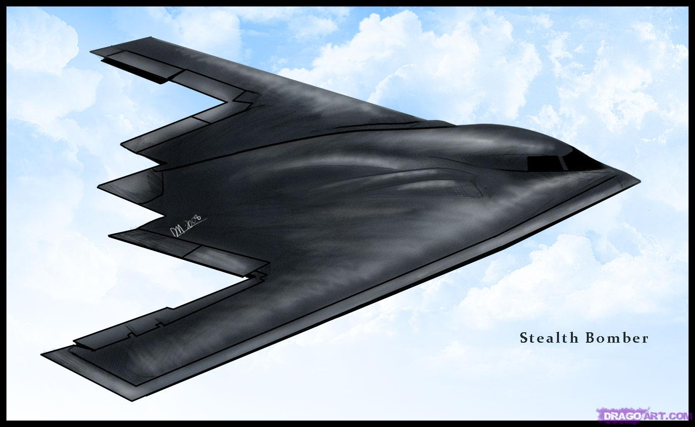 how to draw a b 2 spirit stealth bomber airplane 1400x861