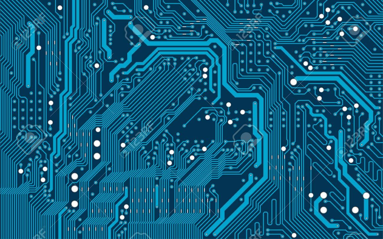 Vector Blue Electronic Circuit Board Background Royalty 1300x812