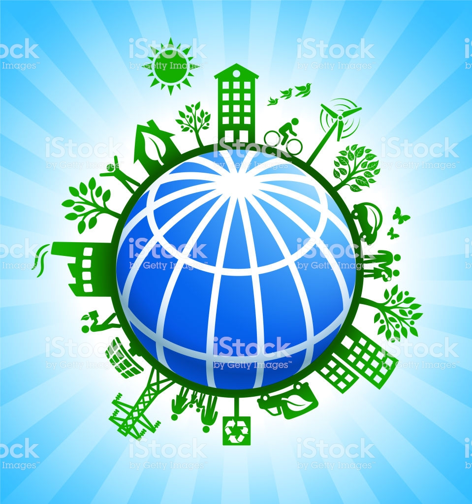 Blue Globe Wireframe On Green Environmental Conservation 959x1024