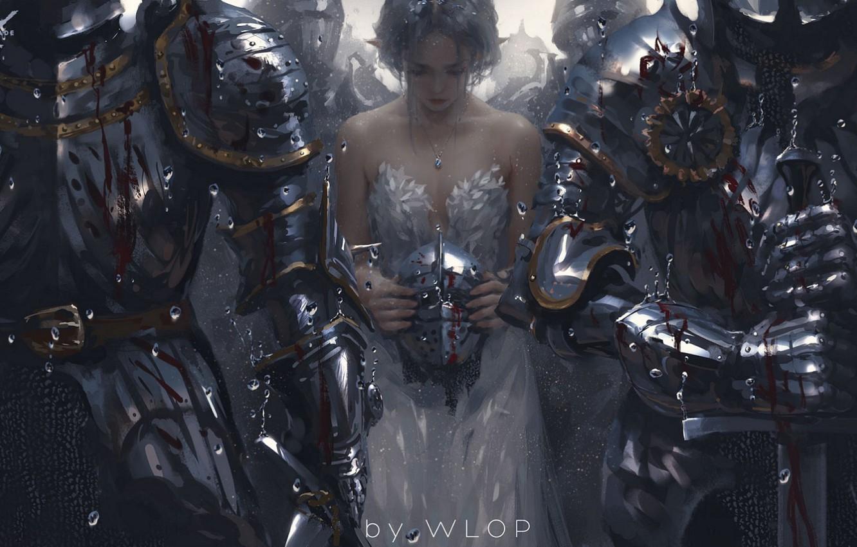 Wallpaper rain blood sword helmet white dress Princess 1332x850