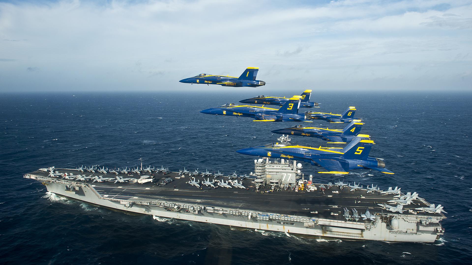 Blue Angels Jet Aircraft Carrier Ocean military wallpaper background 1920x1080