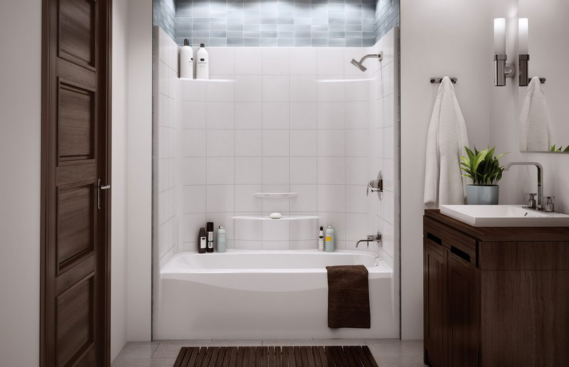 Small Tub And Shower Combo: Wallpaper For Shower Surround
