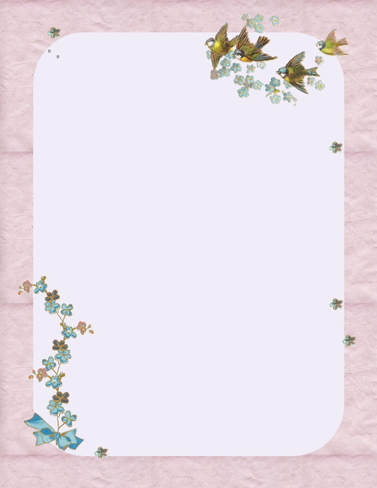 Printable Letterhead Bird and Forget Me Not Graphic Design on 1237x1600