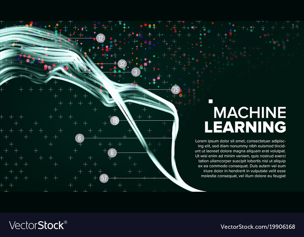 Machine learning background analytics Royalty Vector 1000x780