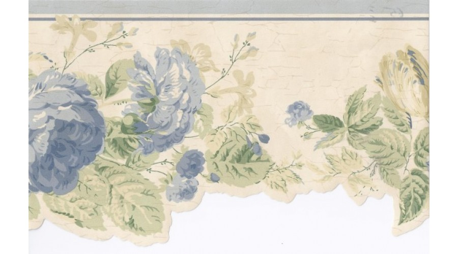 Home Light Blue Cream Stone Floral Wallpaper Border 900x500