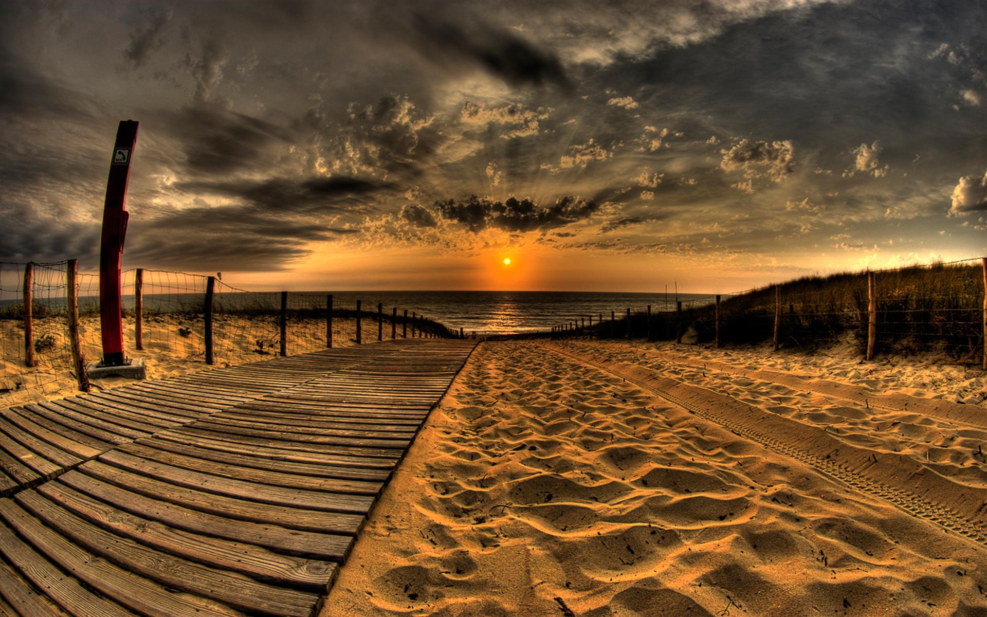 ... yellow sunset on the beach HD Desktop Wallpaper | HD Desktop Wallpaper