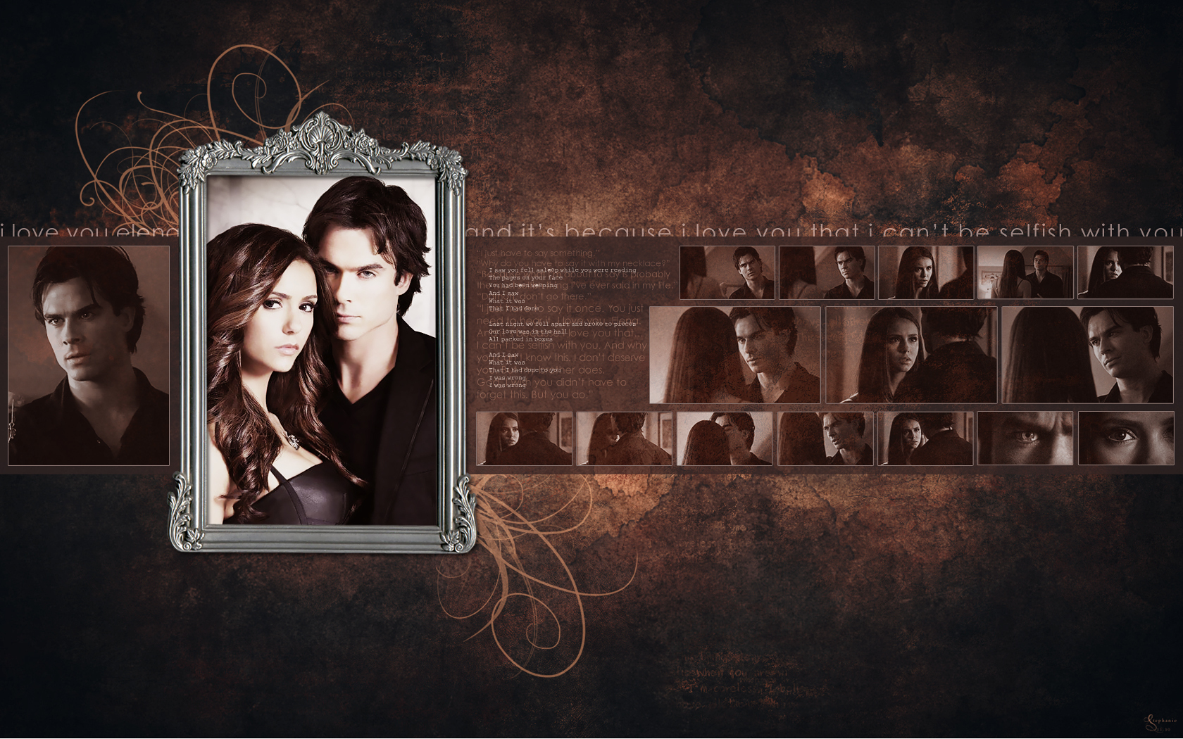 Damon Elena   The Vampire Diaries TV Show Wallpaper 17123319 1680x1050