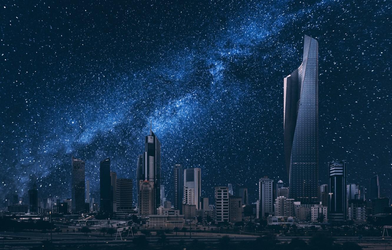 Wallpaper building night city starry sky Kuwait City Kuwait 1332x850