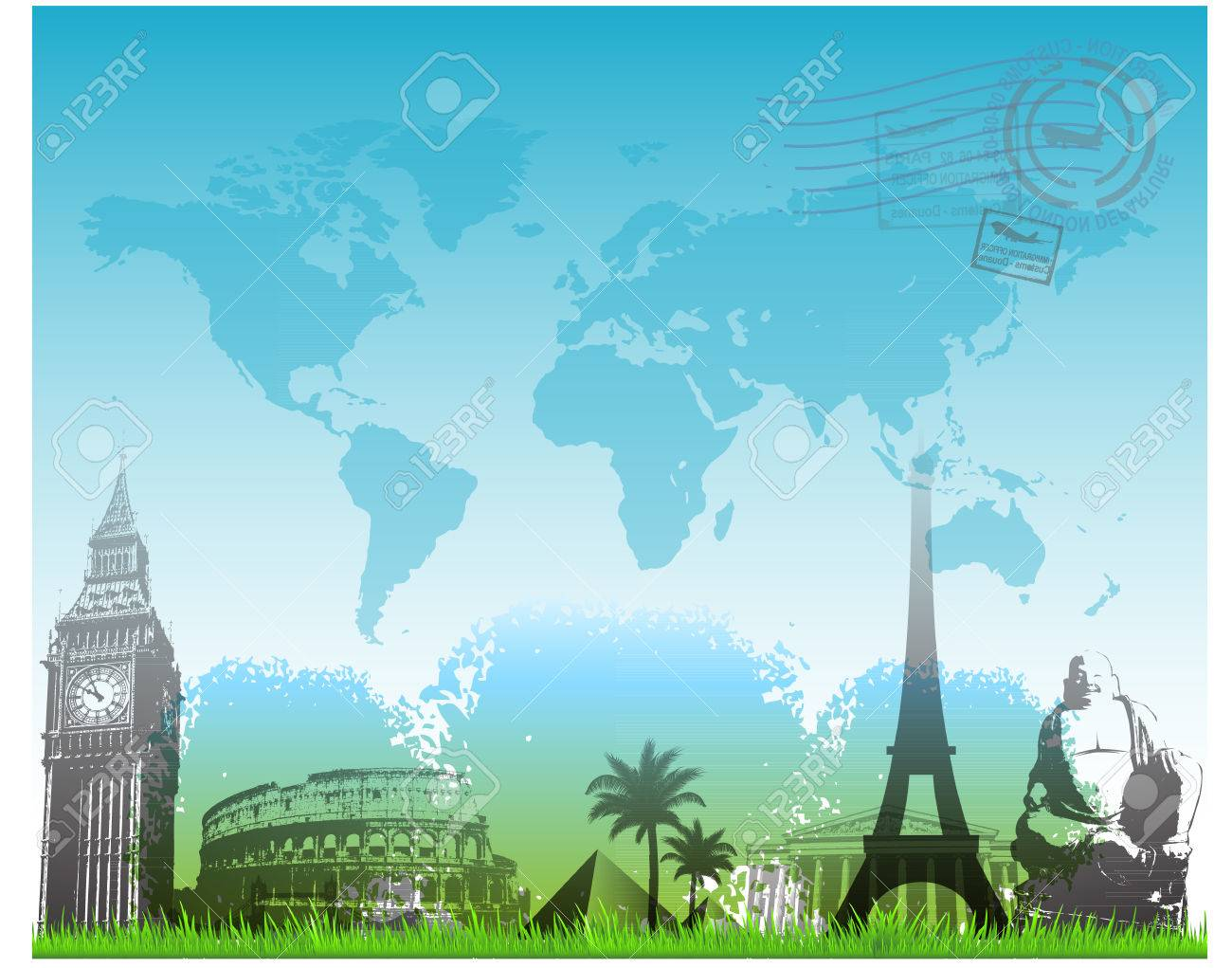 Travel Europe Landmarks Background Vector Illustration Royalty 1300x1021