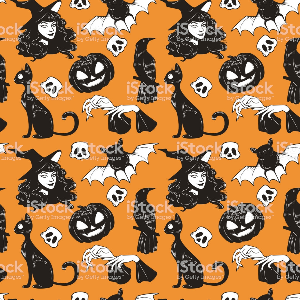 Vector Seamless Pattern With Halloween Cute Hand Drawn Elements 1024x1024