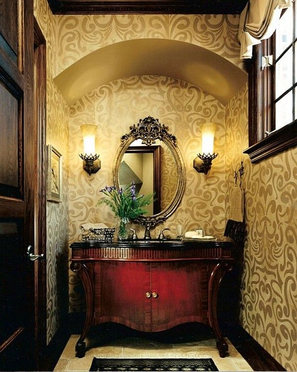 Traditional Powder Room with High ceiling Console sink Zillow Digs 600x752