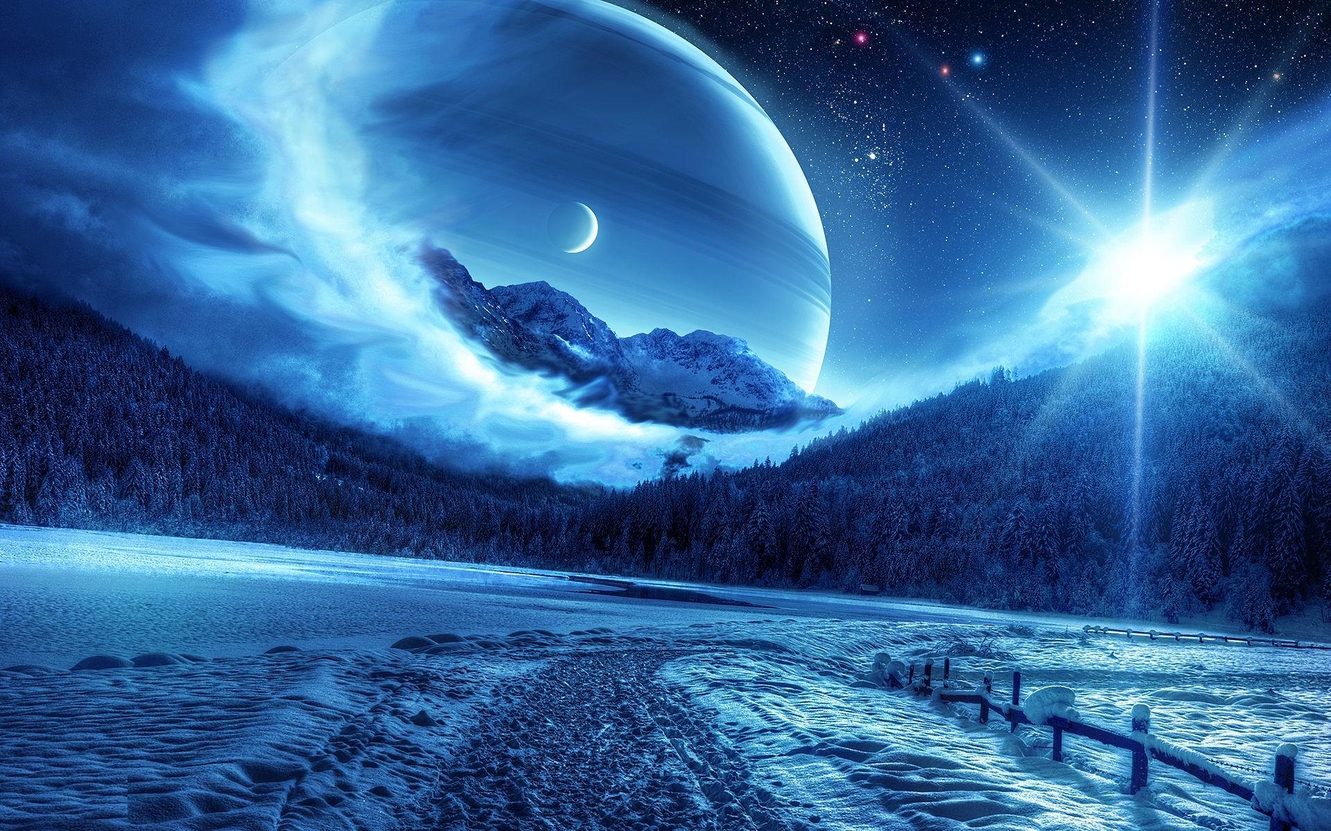 Winter Sun Moon Full HD Desktop Background Wide Images 1920x1200