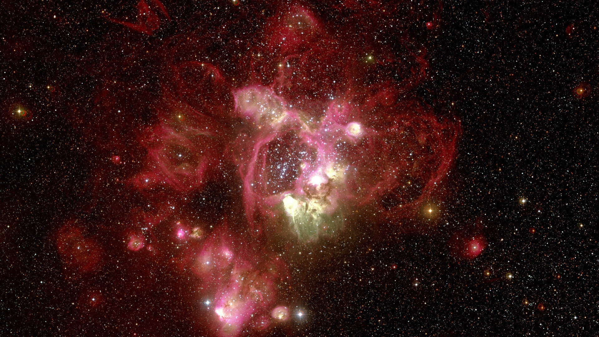 Download Wallpaper 1920x1080 Nebula Red Hubble Telescope Full HD 1920x1080