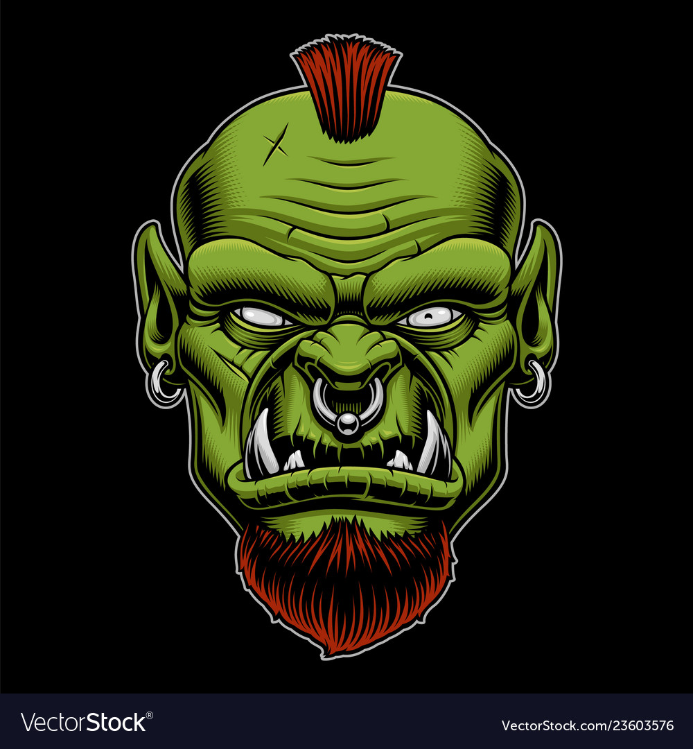 An angry orc on the dark background Royalty Vector 1000x1080