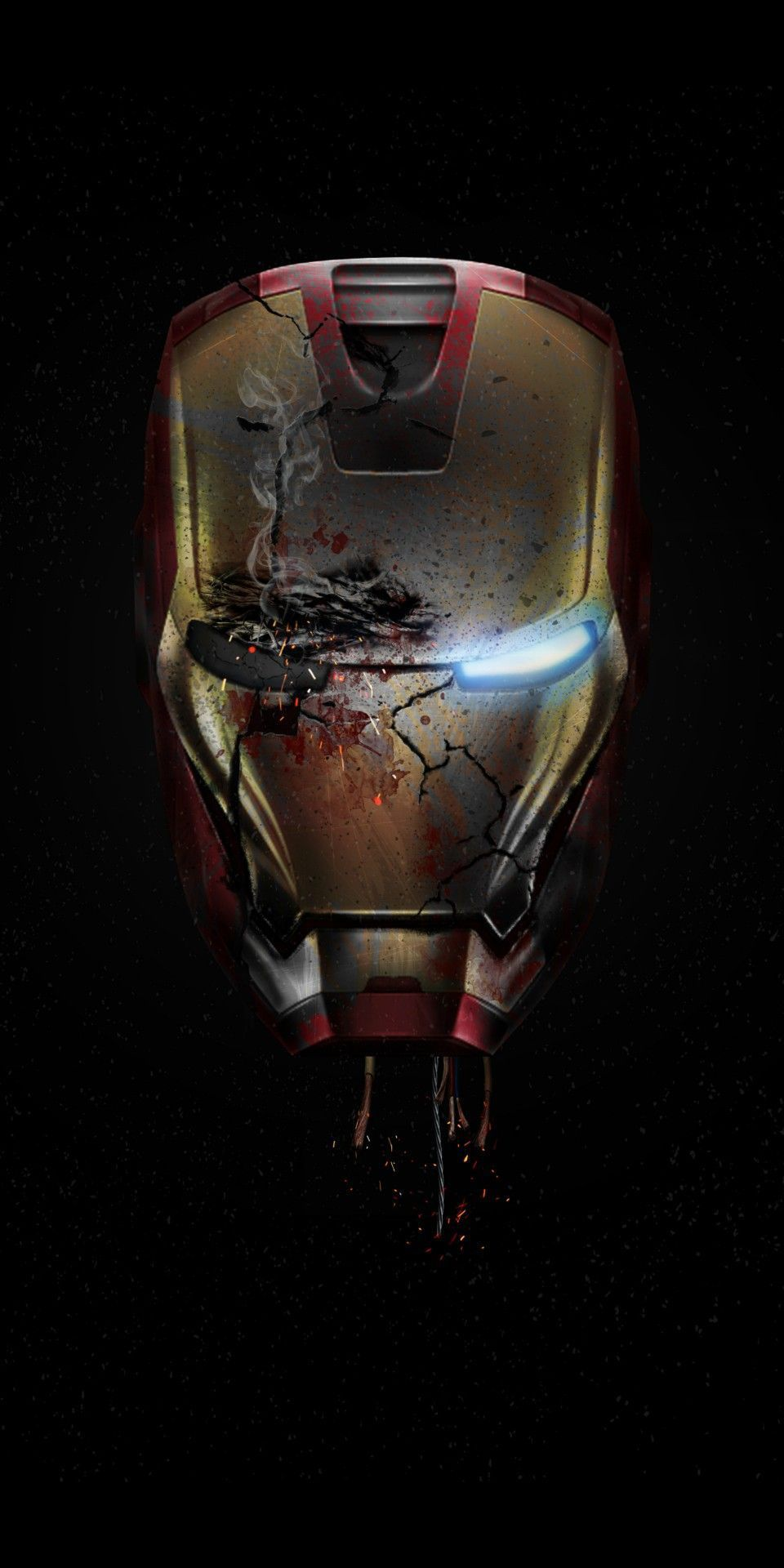 Iron Man Damaged Helmet Endgame iPhone Wallpaper Superheroes and 960x1920