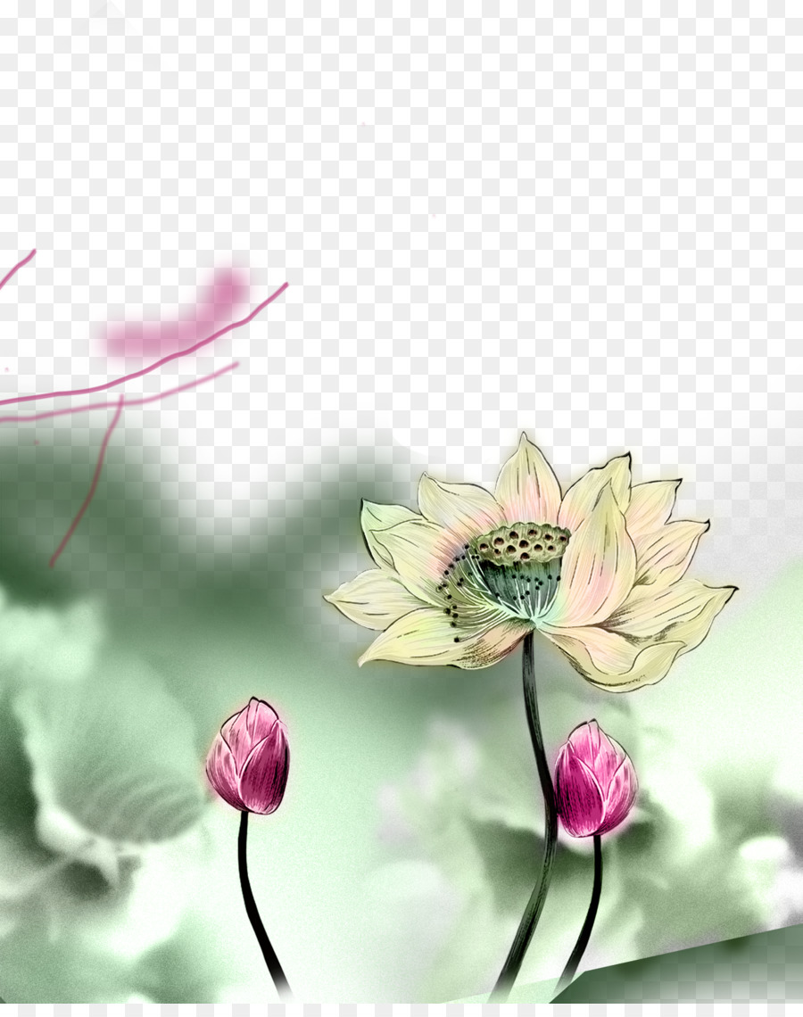Paper Poster March Equinox   Ink lotus decorative design material 900x1140