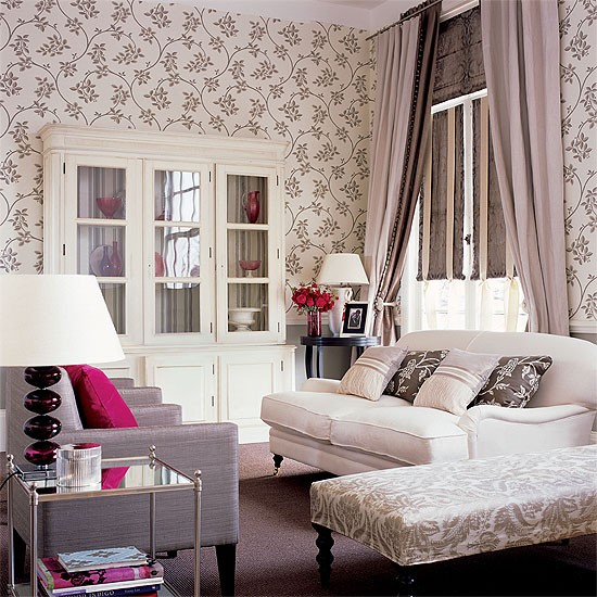 Grey and cream living room with floral wallpaper upholstered 550x550