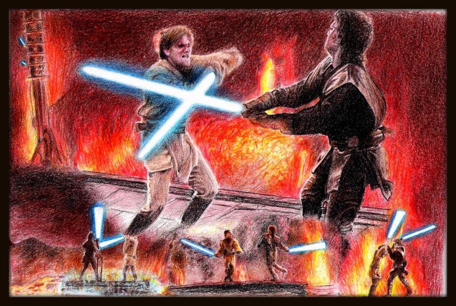 Anakin vs Obi wan by Galbatore 900x604