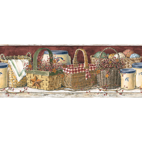 York Wallcoverings Mural Portfolio II Country Kitchen Border Wallpaper 500x500