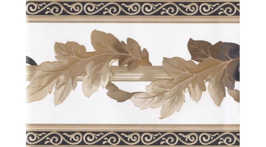 Home White Black Gold Leaf Column Molding Wallpaper Border 900x500