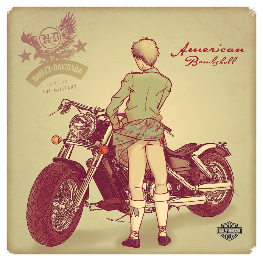 APH   Harley Davidson Pin Up by C4L4M1T43R0ST4T0 883x878