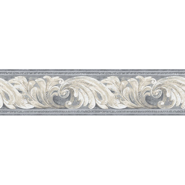 Blue Architectural Scroll Border   Wall Sticker Outlet 600x600