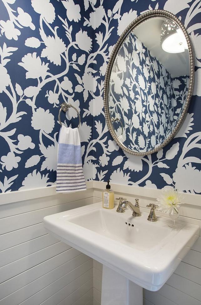 Wallpaper BlueandWhite FloralWallpaper Wainscoting Shiplap 642x975