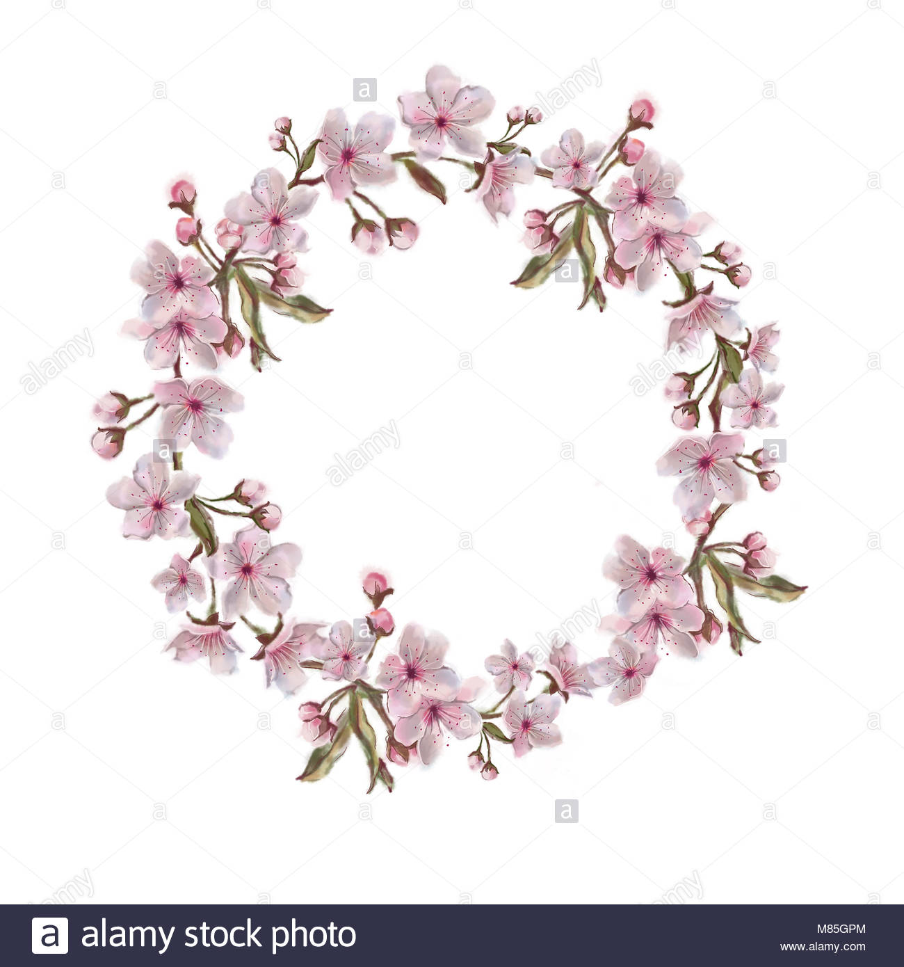 Floral Wreath Isolated on White Background Spring Flowers Hand 1300x1390