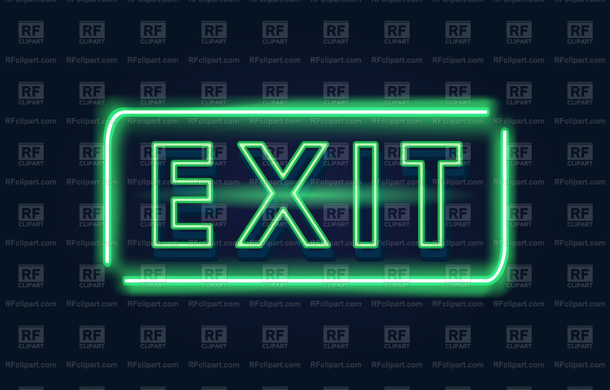 Exit green neon sign on a dark background Vector Image of Signs 1200x768