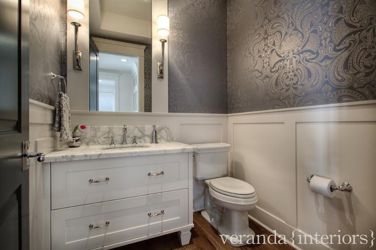 Metallic Damask Wallpaper   Traditional   bathroom   Veranda Interiors 740x493