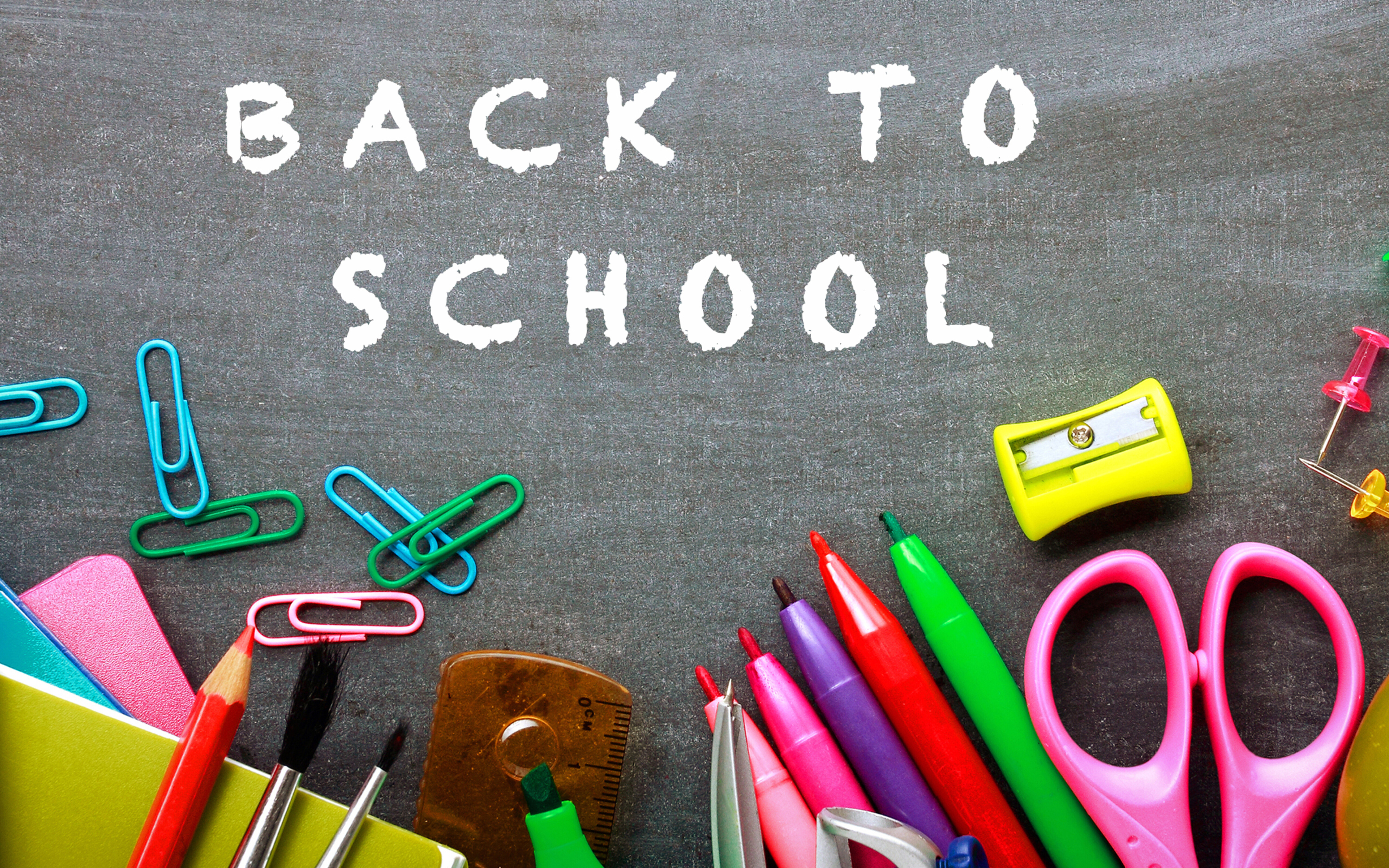 Crayons and stuffs for school   HD wallpaper 5120x3200