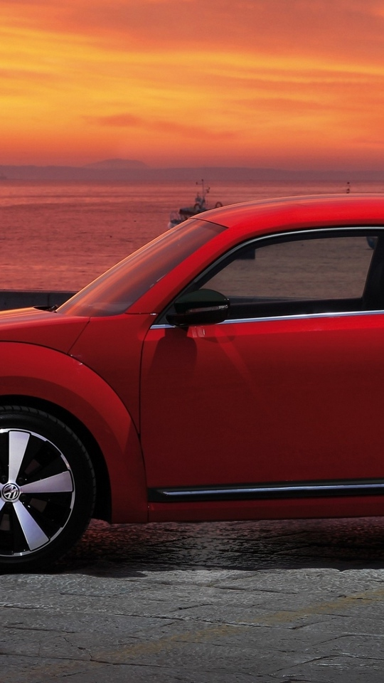 Download wallpaper 540x960 volkswagen fusca red side view 540x960