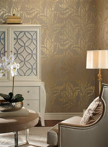 Catalina Wallpaper in Brown and Gold by Ronald Redding for York Wallco 441x600