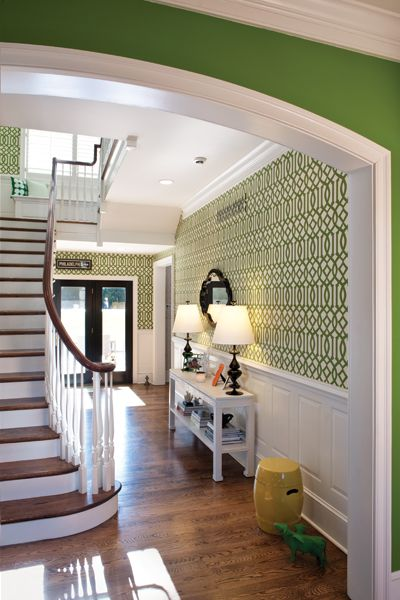 Trellis wallpaper from Kelly Wearstlers collection Love the green 400x600
