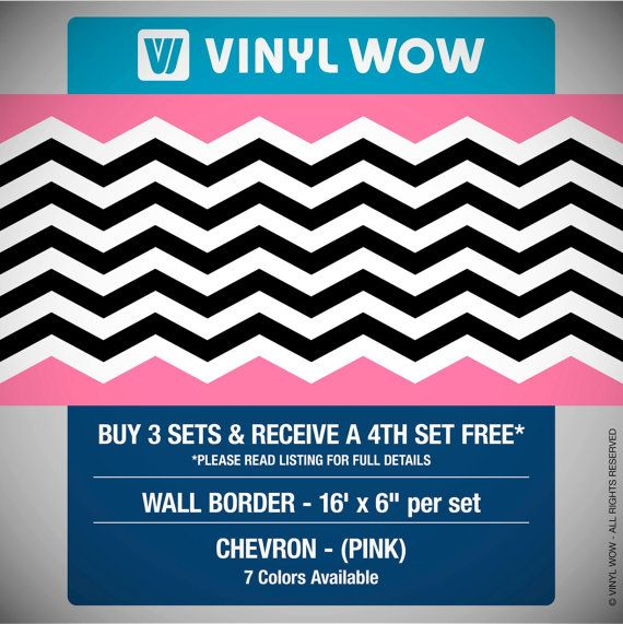 Wallpaper Border Set   CHEVRON ZIG ZAG   16 x 6   Buy 3 Sets Get 4 570x571