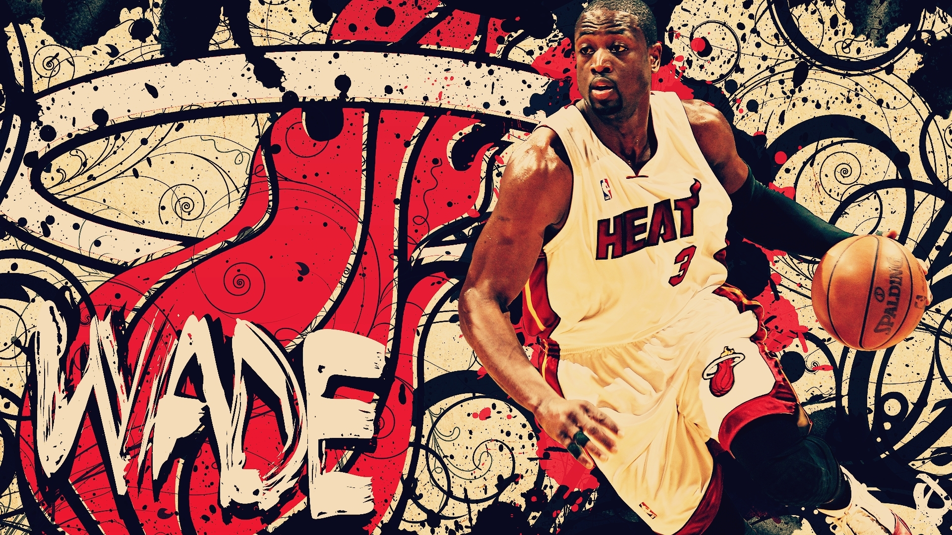 abstract nba basketball dwyane wade miami heat wallpaper background 1920x1080