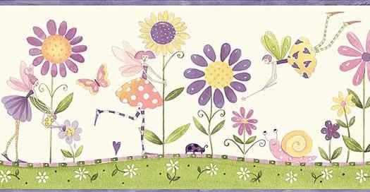 Purple Flower Fairies Wallpaper Border   Wallpaper Border 525x272