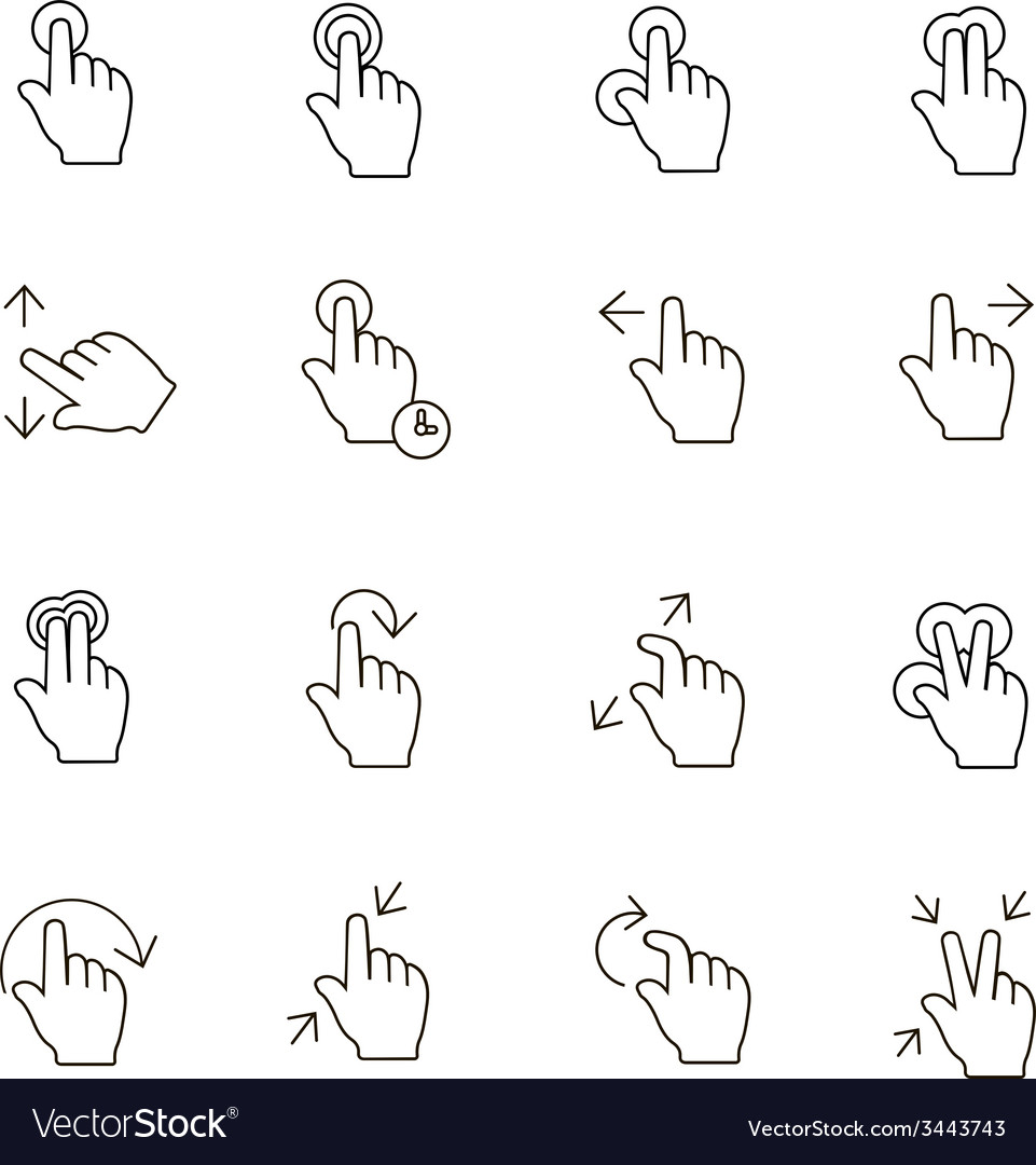 Touch Gestures Icons outline on white background Vector Image 961x1080