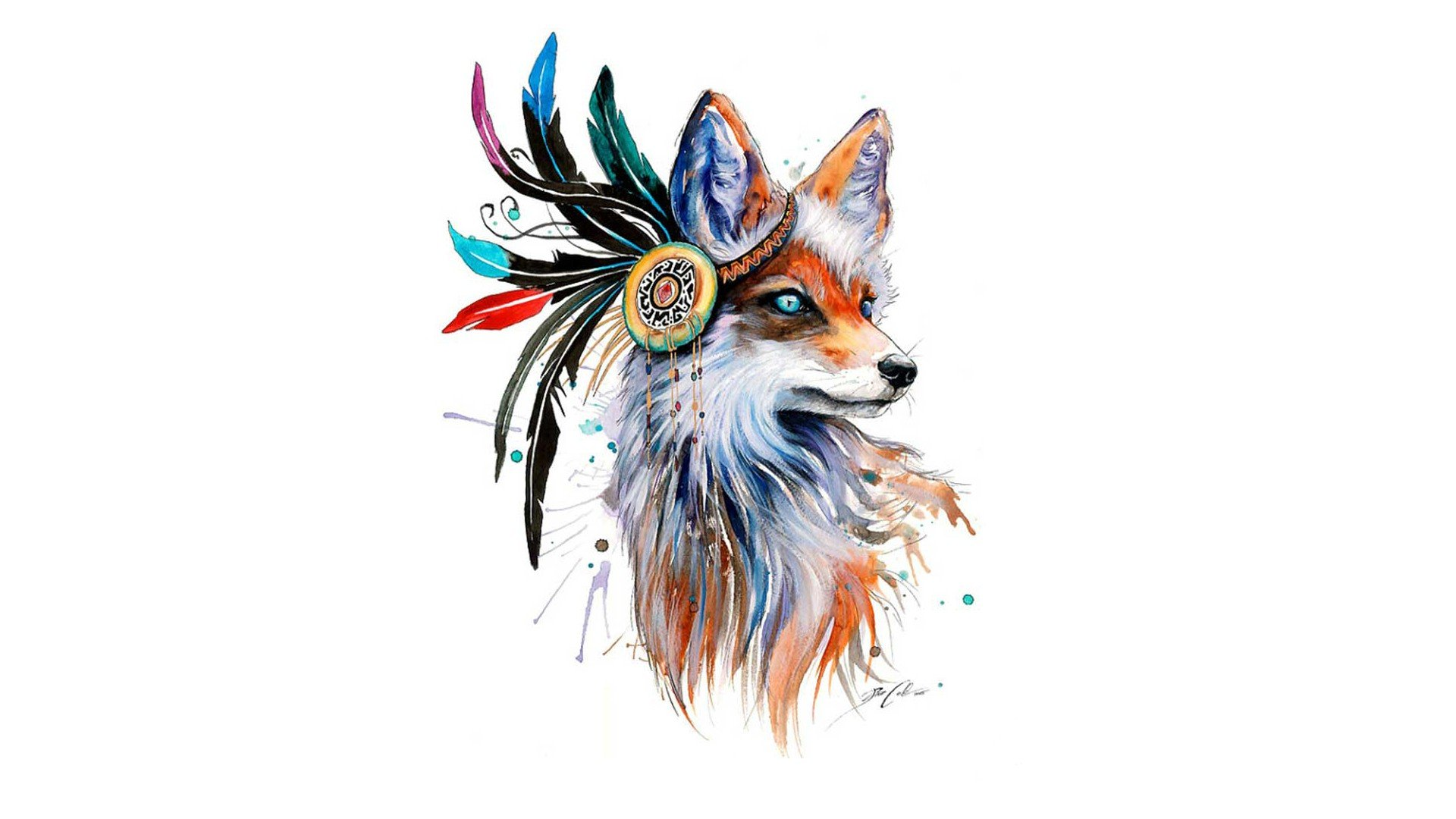 fox Drawing Feathers Colorful Simple background Animals 1920x1080