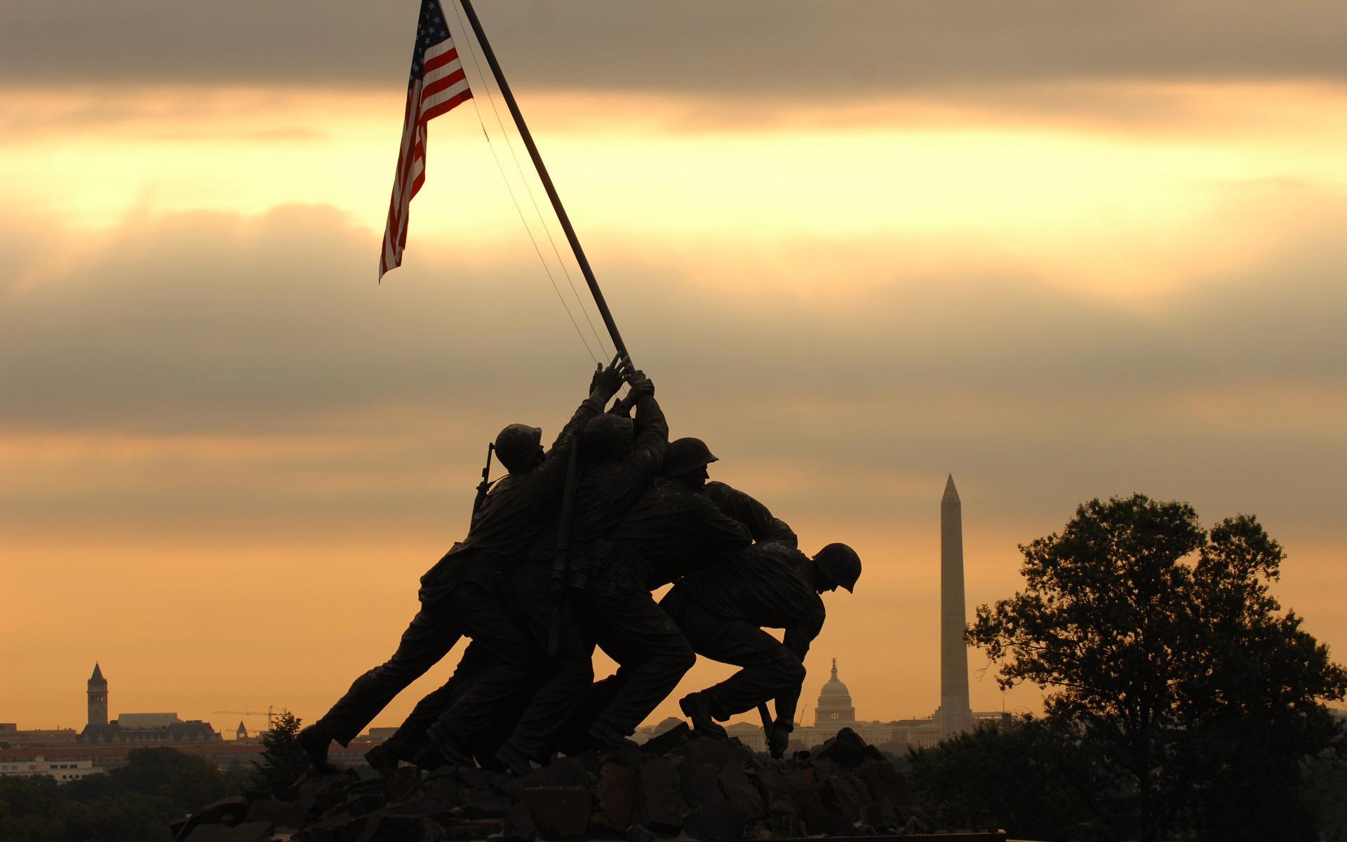 Marine Corps War Memorial Iwo Jima Memorial computer desktop 1920x1200