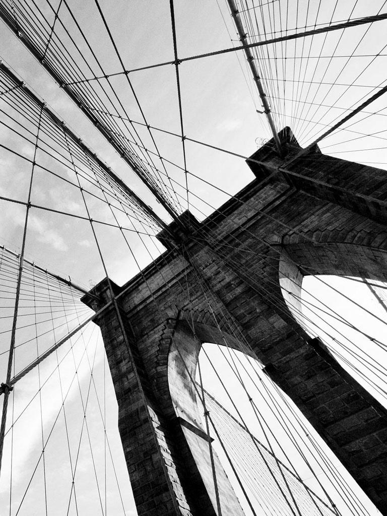 Miscellaneous   BW Brooklyn Bridge   iPad iPhone HD Wallpaper 768x1024