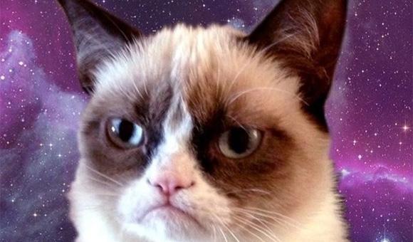 Grumpy Cat Galaxy iPhone 5 Wallpaper 580x340