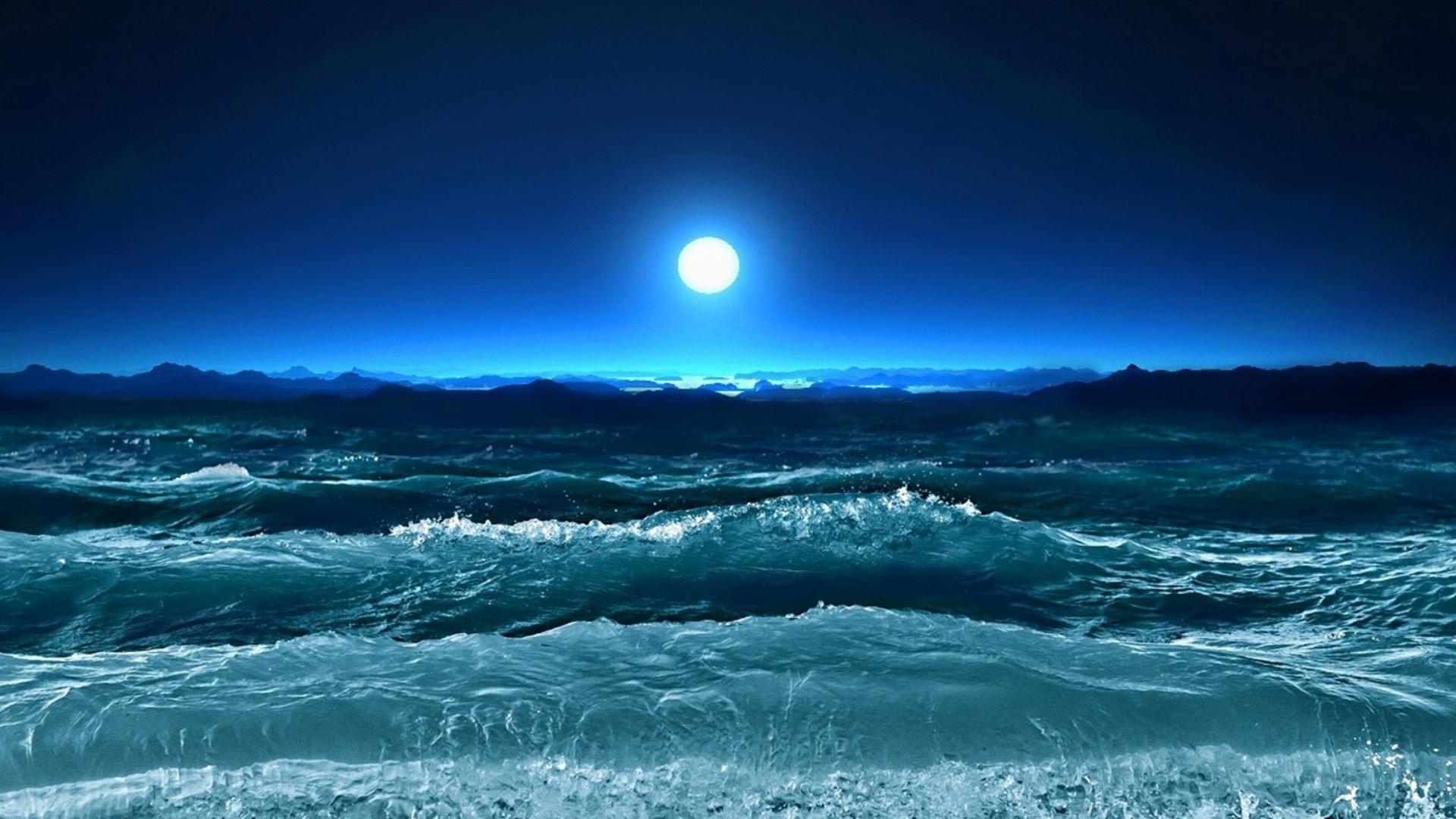 Ocean Waves Under Moon Light 1920x1080 wallpaper1920X1080 wallpaper 1920x1080
