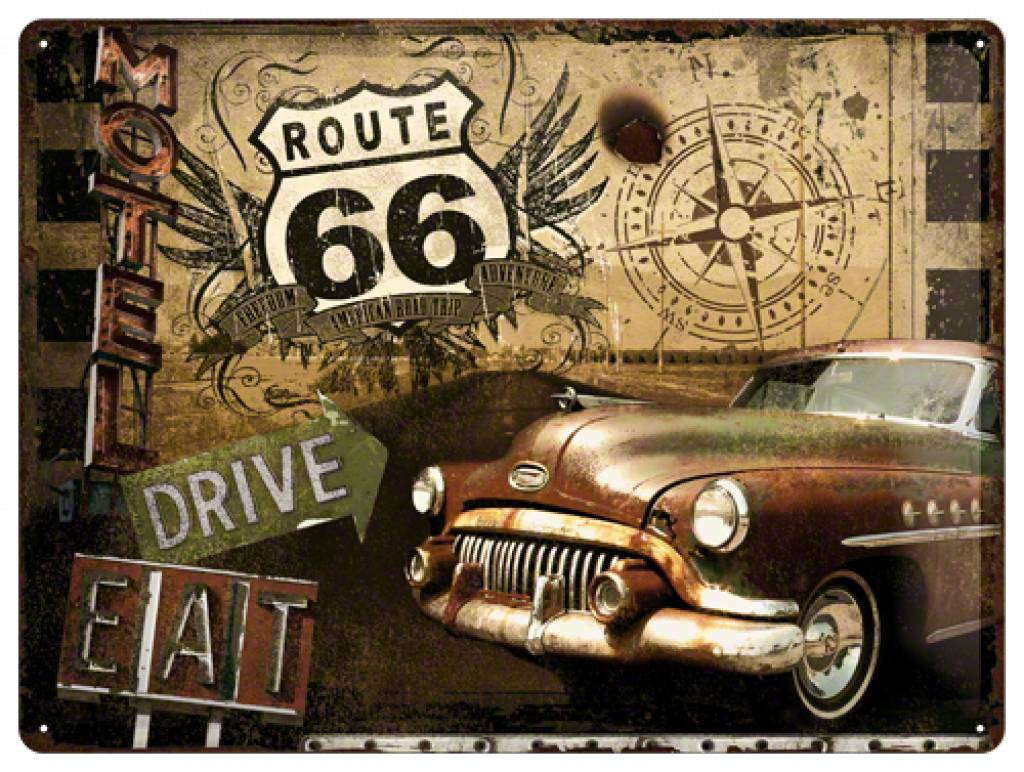 Vintage Route 66 Sign Home tin sign route 66 motel 1024x772