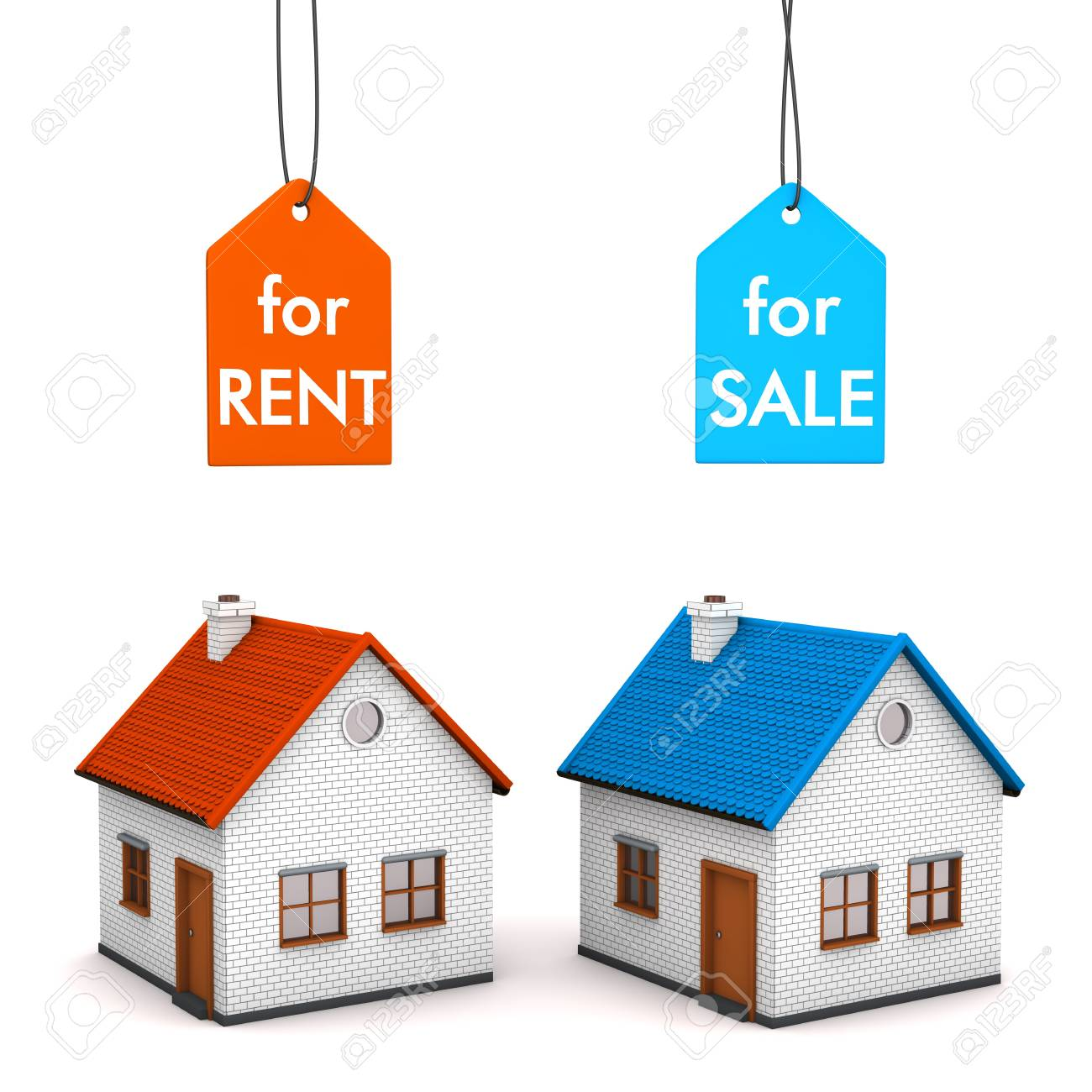 Two Homes With Price Labels For Rent And For Sell White 1300x1300