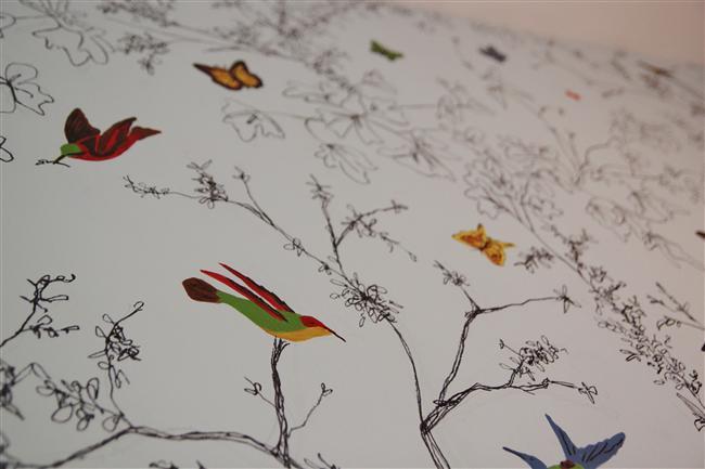 DIY birds and butterflies wallpaper paper chandelier magazine stool 650x433