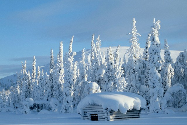 Snow Covered Cabin in Lapland   Luxury Log Cabins Chalets 639x426