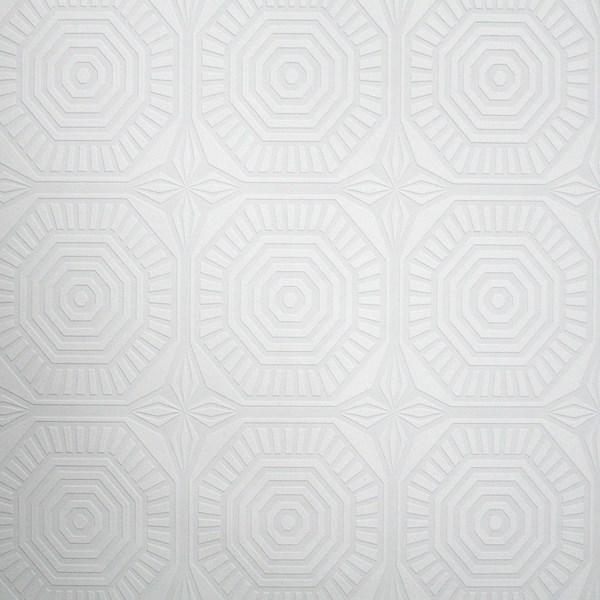 Geo Panel Paintable White Wallpaper by Graham and Brown 600x600