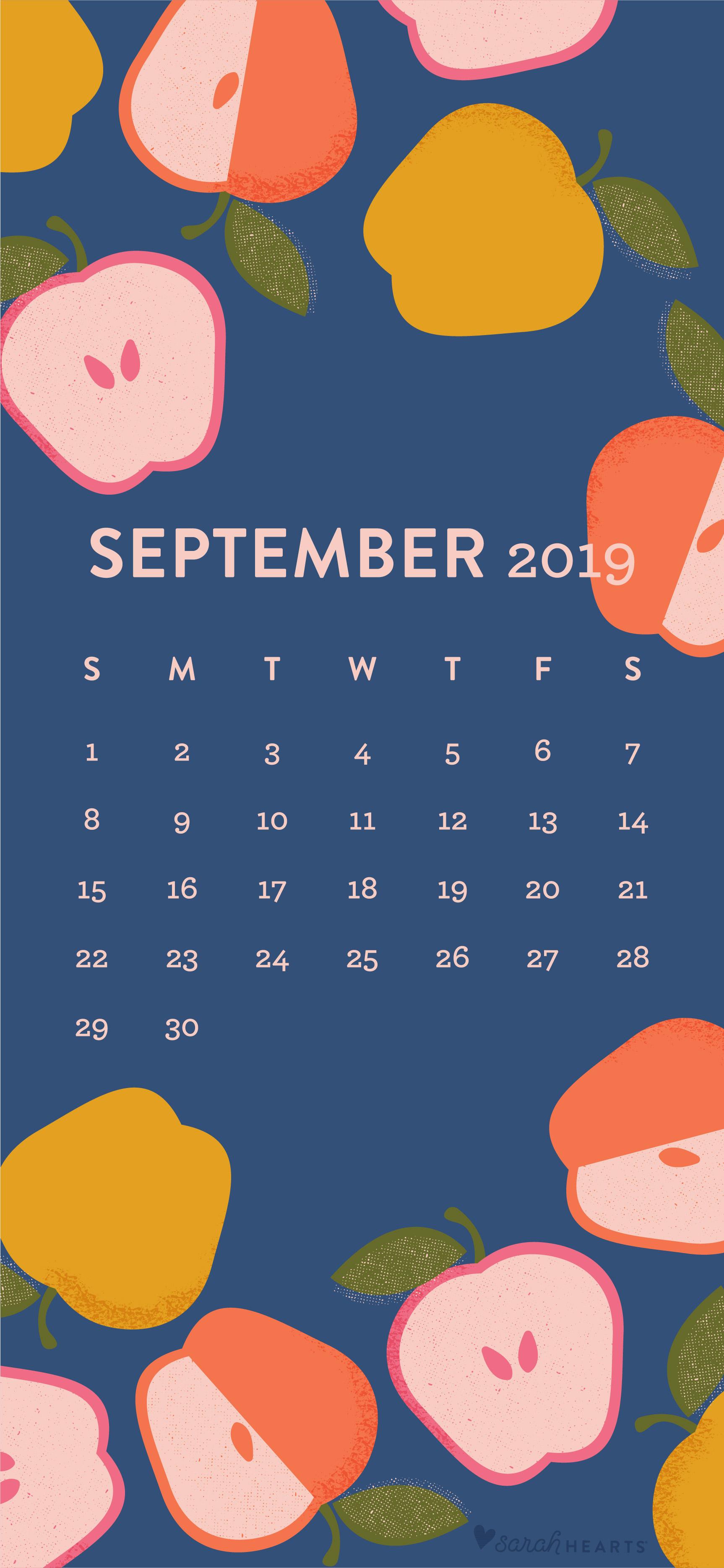 Colorful Apple September 2019 Calendar Wallpaper   Sarah Hearts 1726x3734
