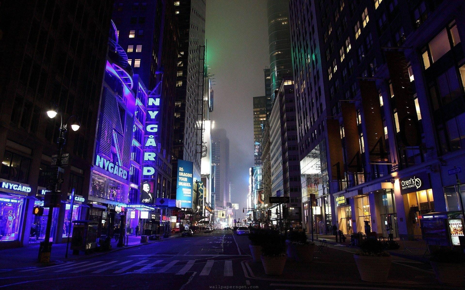 Shop Street at night of New York city wallpaper 1920x1200